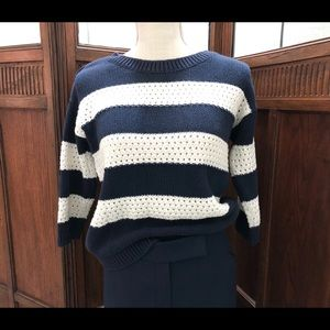 Gap Relaxed Fit Sweater Navy/Wht, Sz XS